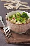 fokhagymakrémes csirke brokkolival és házi tésztával (strozzapreti)