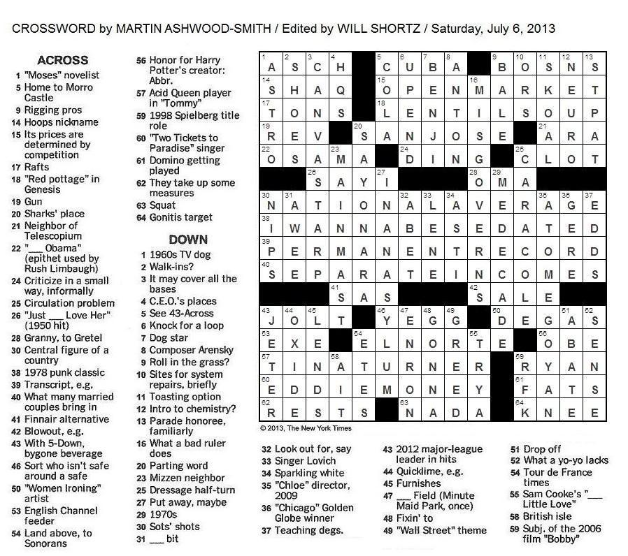 South Street Singers Crossword