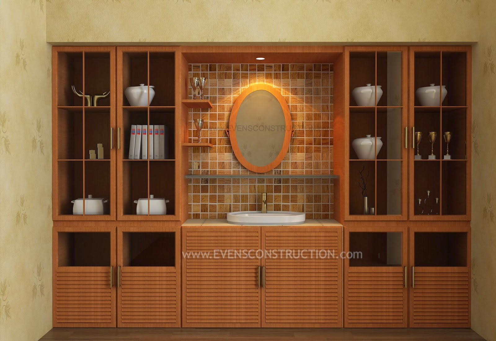 Evens construction pvt ltd crockery shelf with wash area for Dining room cupboard designs