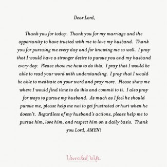 Unveiled Wife prayer
