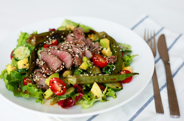 Beef & Grilled Okra Sesame Salad