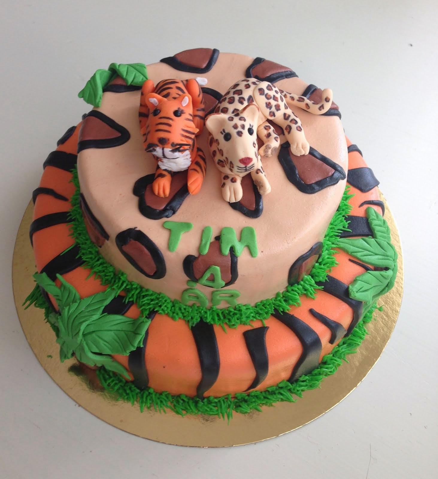 Tiger-och leopardtårta