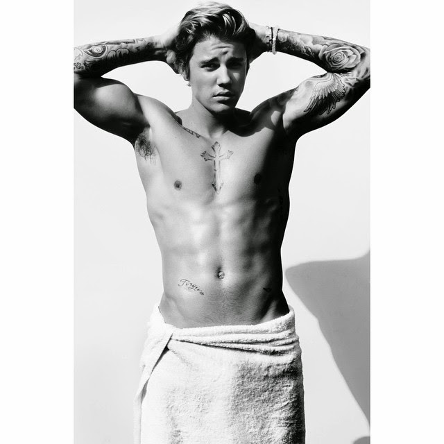 Justin Bieber poses for Mario Testino's Towel Series