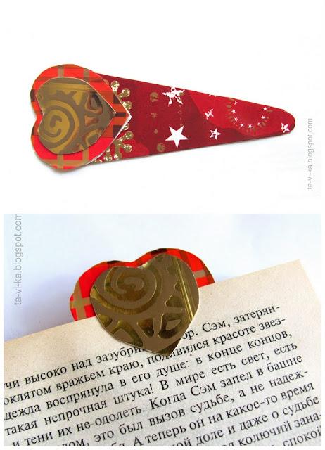 закладка для книг сердечко своими руками bookmark valentines