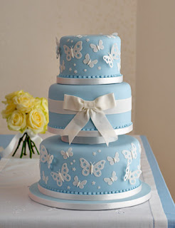 blue butterfly wedding cake