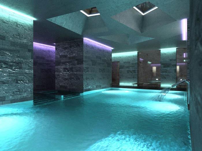 Piscinas privadas mas disenos de piscinas interiores for Diseno de casas con piscina interior
