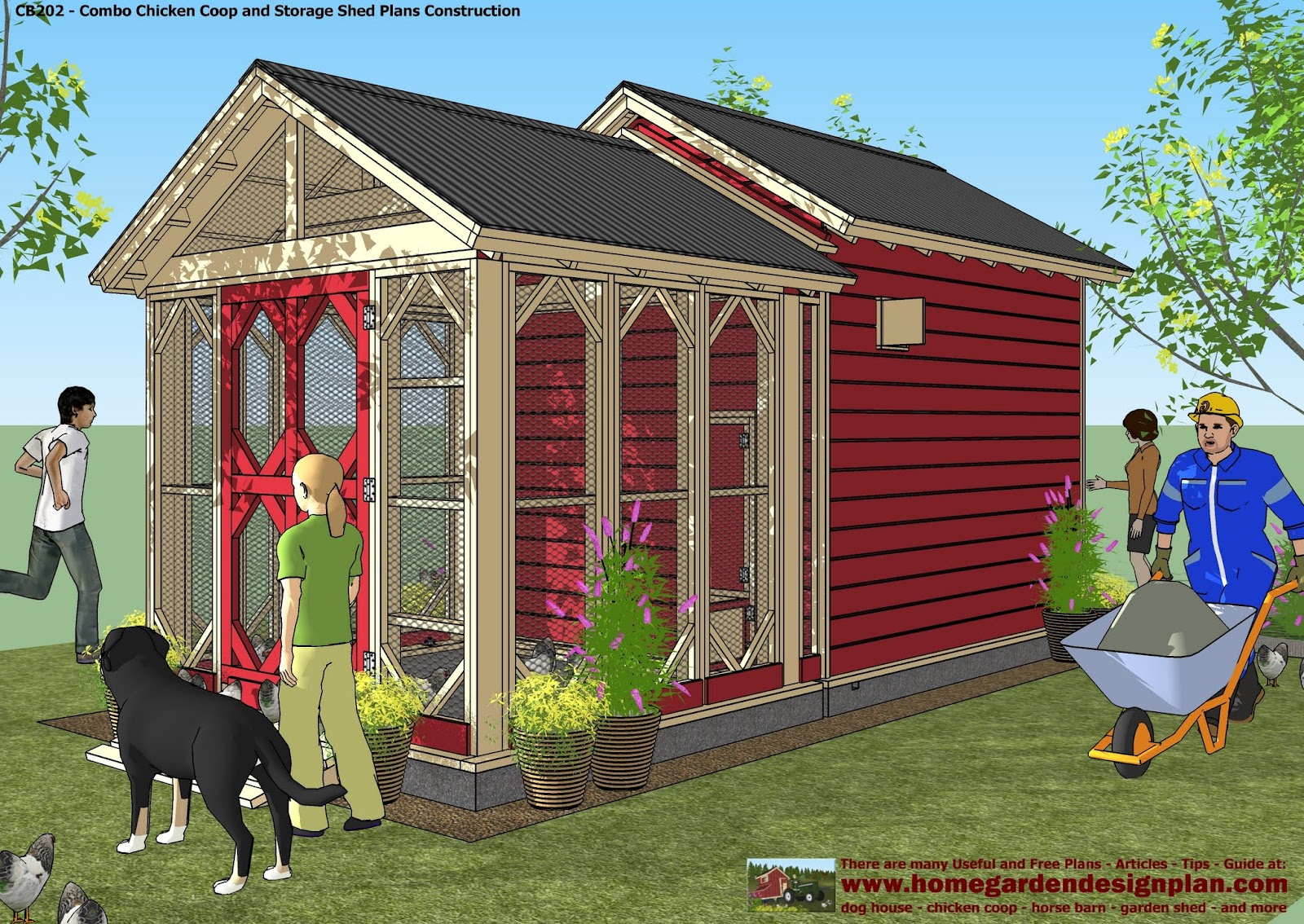Home Garden Plans: CB202   Combo Plans   Chicken Coop Plans Construction +  Garden Sheds Plans   Storage Sheds Plans Construction