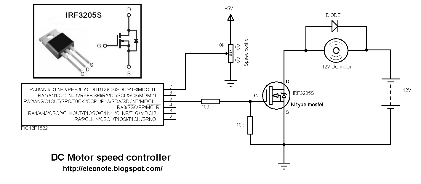 Electronics note for Motor speed control pwm