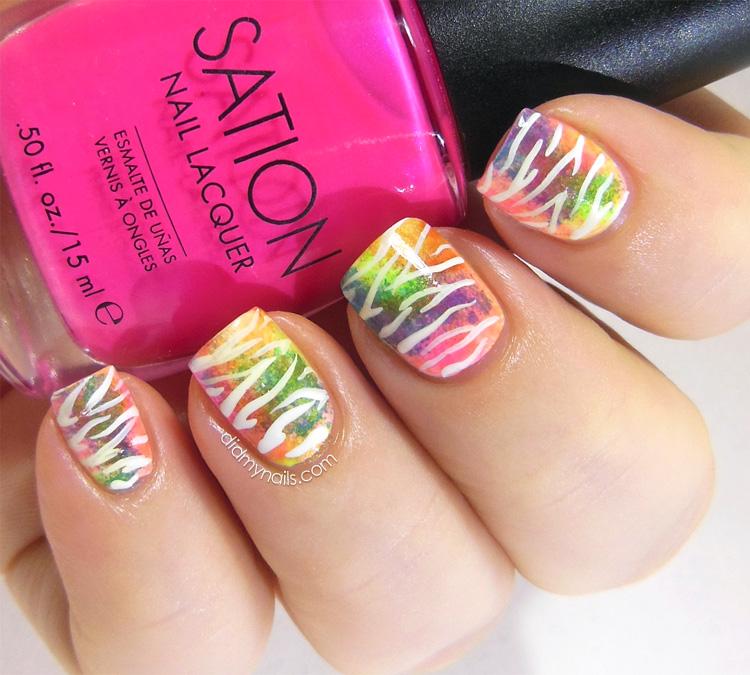 neon zebra nail art