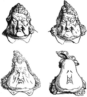 Honoré Daumier's 1831 caricature of King Louis Philippe turning into a pear. Early sequential art. Daumier transformé la figure du roi dans une poire