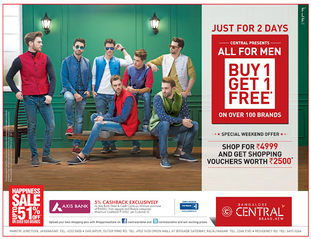 Buy one get one for all for Men @Central and many more offers