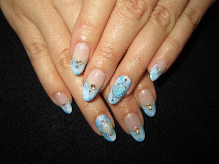 Cute Nail Designs Blue Tie Dye Gel Nails
