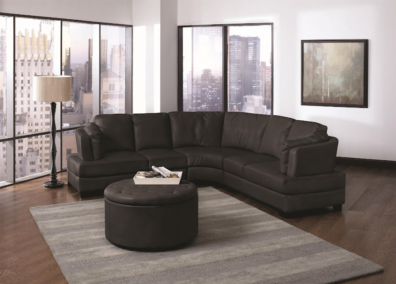Black Leather Curved Sectional Sofa (12 Image)