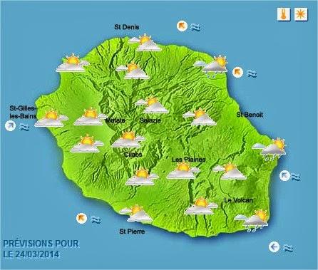 Prévisions météo Réunion pour le lundi 24/03/2014