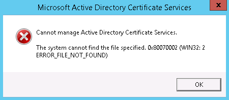 Clint boessens blog cannot manage active directory certificate this error is caused because you have not yet finished the configuration of ad cs using windows server 2012 r2 server manager yadclub Gallery