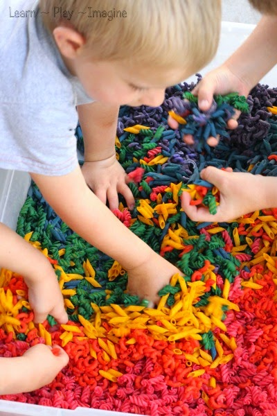 Sensory play with dyed pasta