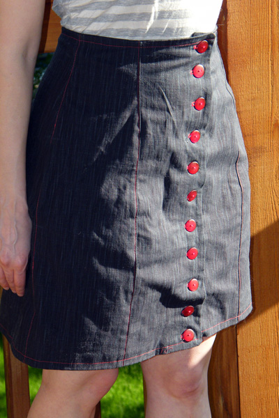 Denim Beignet with Red Buttons