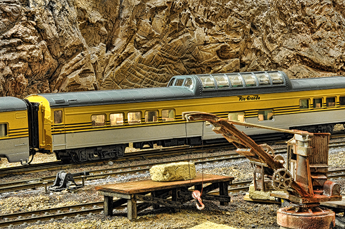 Train Layout Detail - Vista Car in Yard