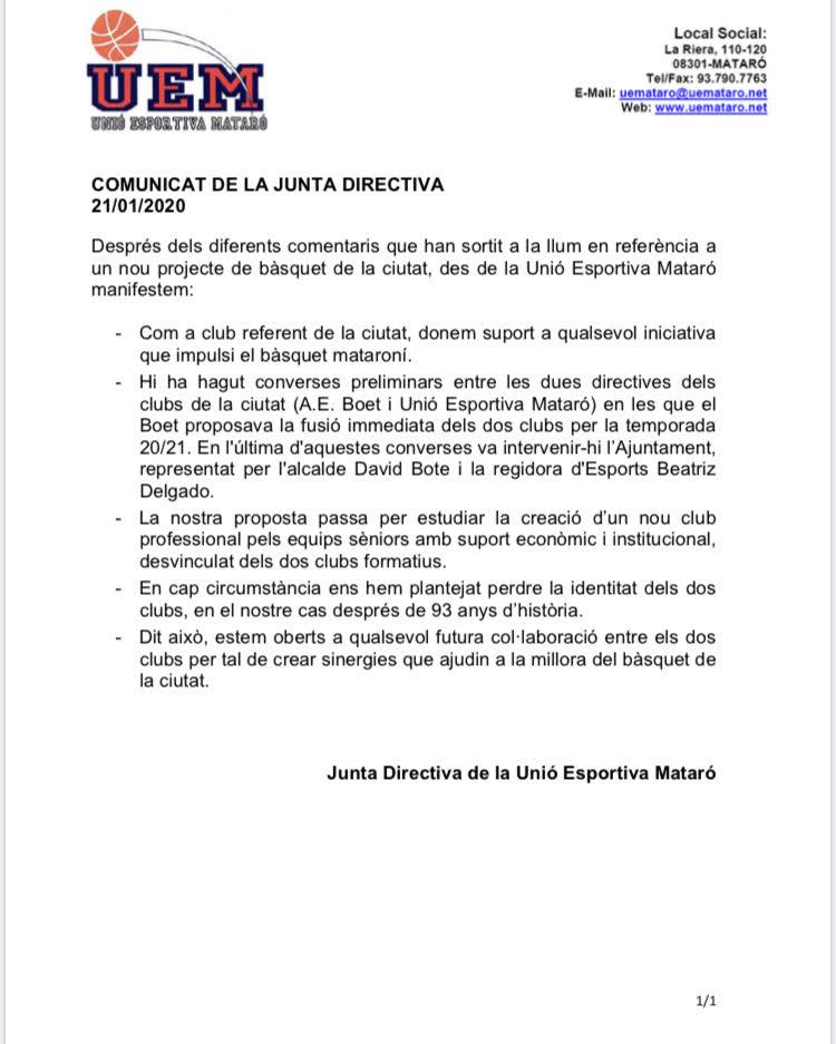 Comunicat U.E. Mataró