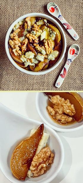 Peras caramelizadas com gorgonzola e nozes: uma combinação maravilhosa