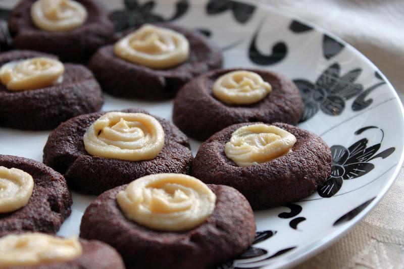 Chocolate Thumbprint Cookies with Vanilla Honey Cream Cheese Frosting ...