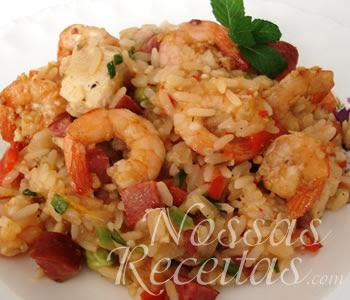 receita de arroz preparado com camarão