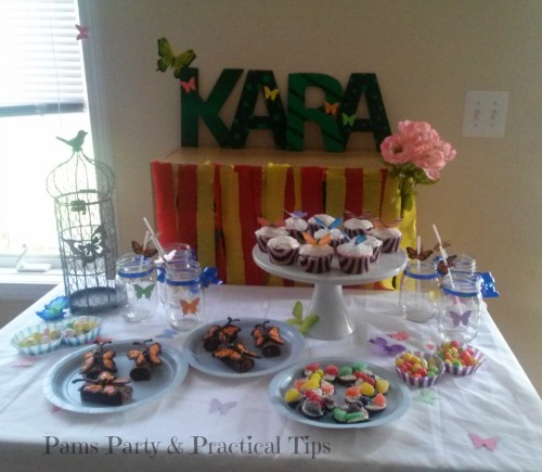 Butterfly Party Treats and Decor at Pams Party and Practical Tips