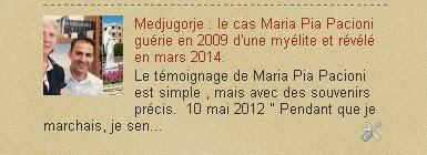 Medjugorje : le cas Maria Pia Pacioni guérie en 2009 d'une myélite et révélé en mars 2014
