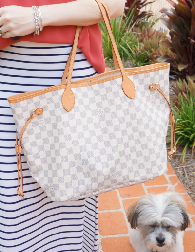 louis vuitton MM damier azur neverfull tote bag with pale vachetta