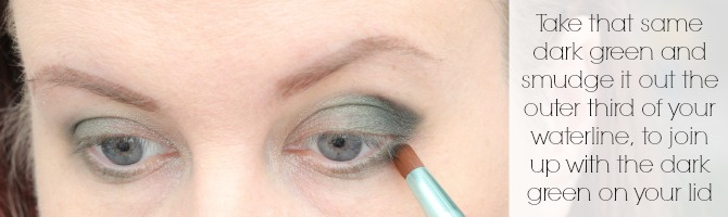Take that same dark green and smudge it out the outer third of your waterline, to join up with the dark green on your lid