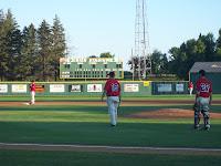 Infield practice: C Matt Raso (27), RP Zach Schara (19)