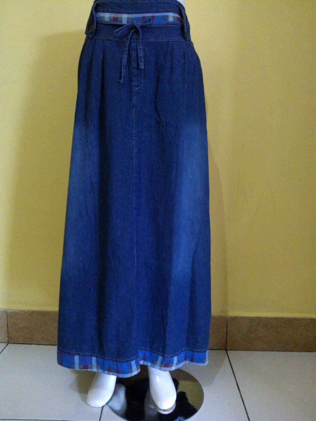 model rok jeans bahan denim untuk muslimah