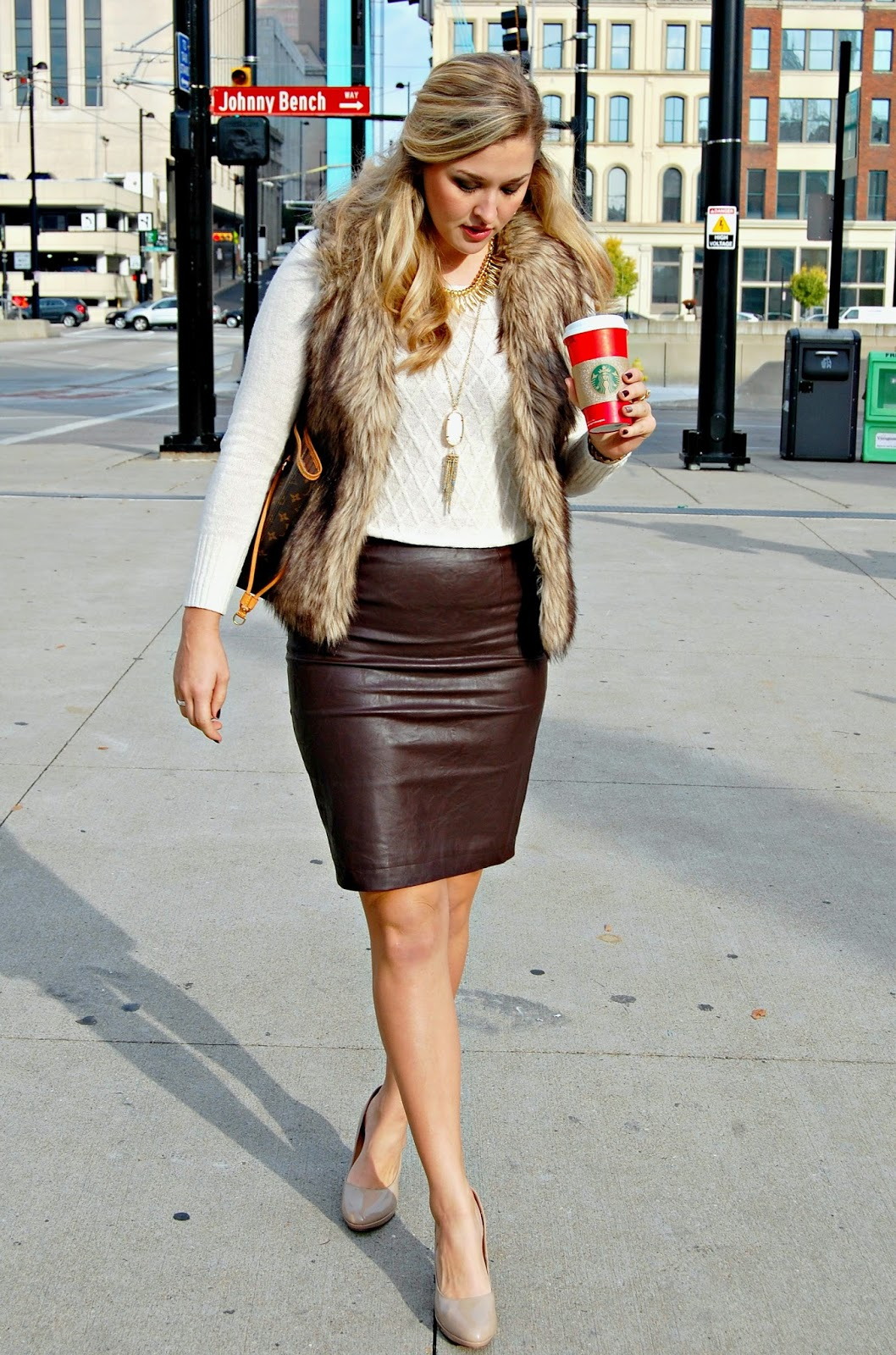 Brown Leather Pencil Skirt