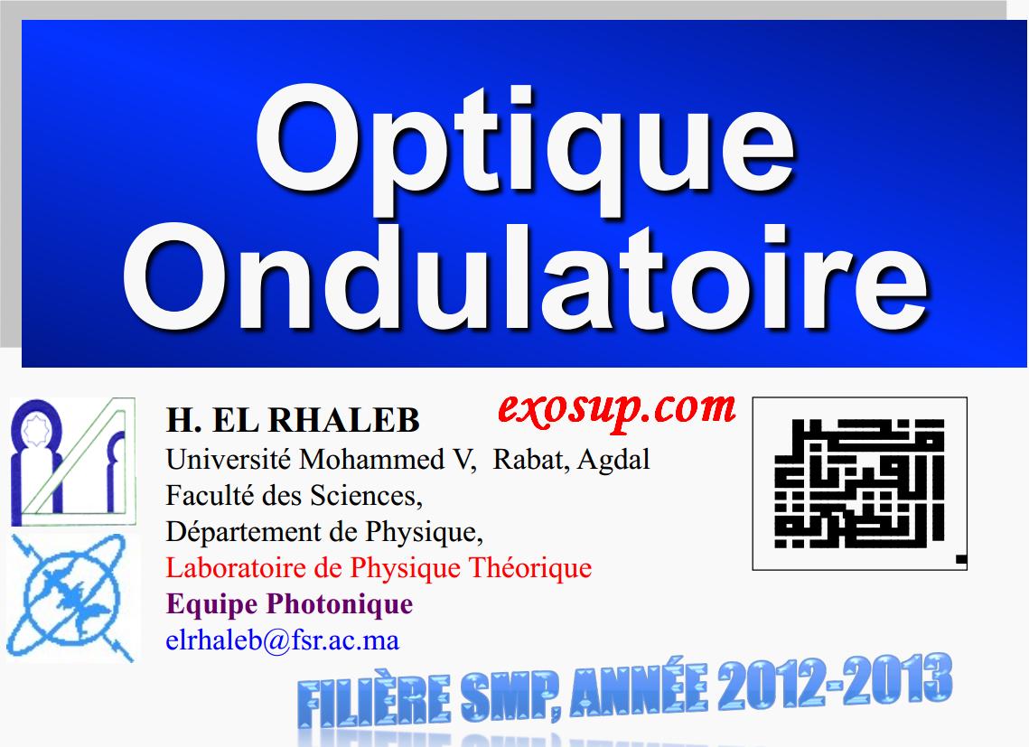 cours d'optique ondulatoire fsr smp s4