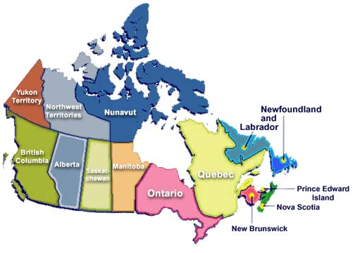 canada province map pictures