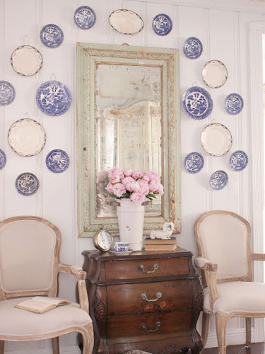 French Style Accent Chairs With Plates On Wall