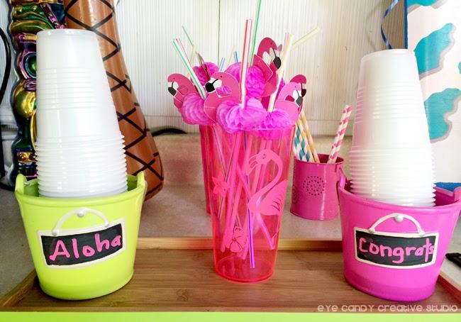 flamingo straws, aloha, congrats, luau theme party, graduation party idea