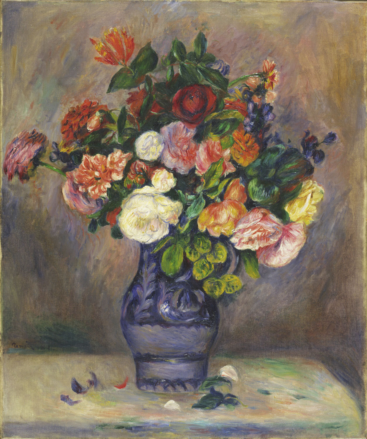 Renoir girl with flowers visible