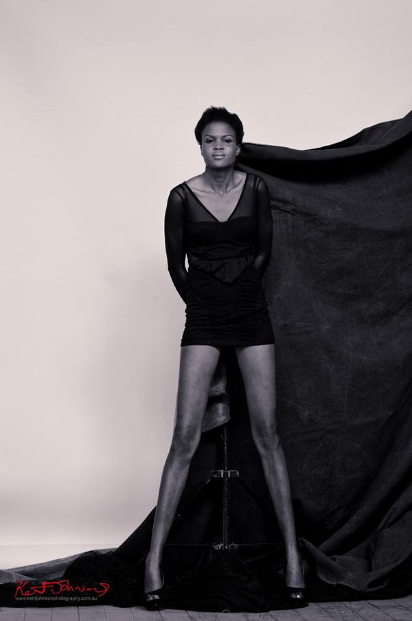 Full length black and white model shot, model portfolio Sydney Australia.