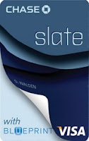 Slate credit card from Chase bank, featuring a 0% Intro rate, and no balance transfer fee