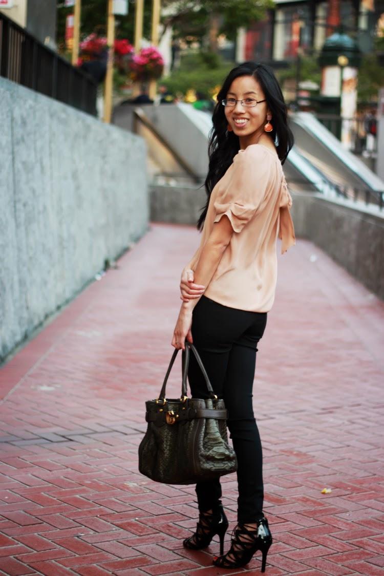 silk blouse coated denim ballerina outfit