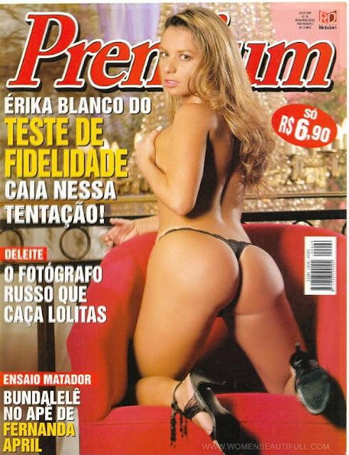 Confira as fotos da da musa do teste de fidelidade, Érica Blanco, capa da Sexy Premium de julho de 2005. Ensaio secundário Fernanda April!