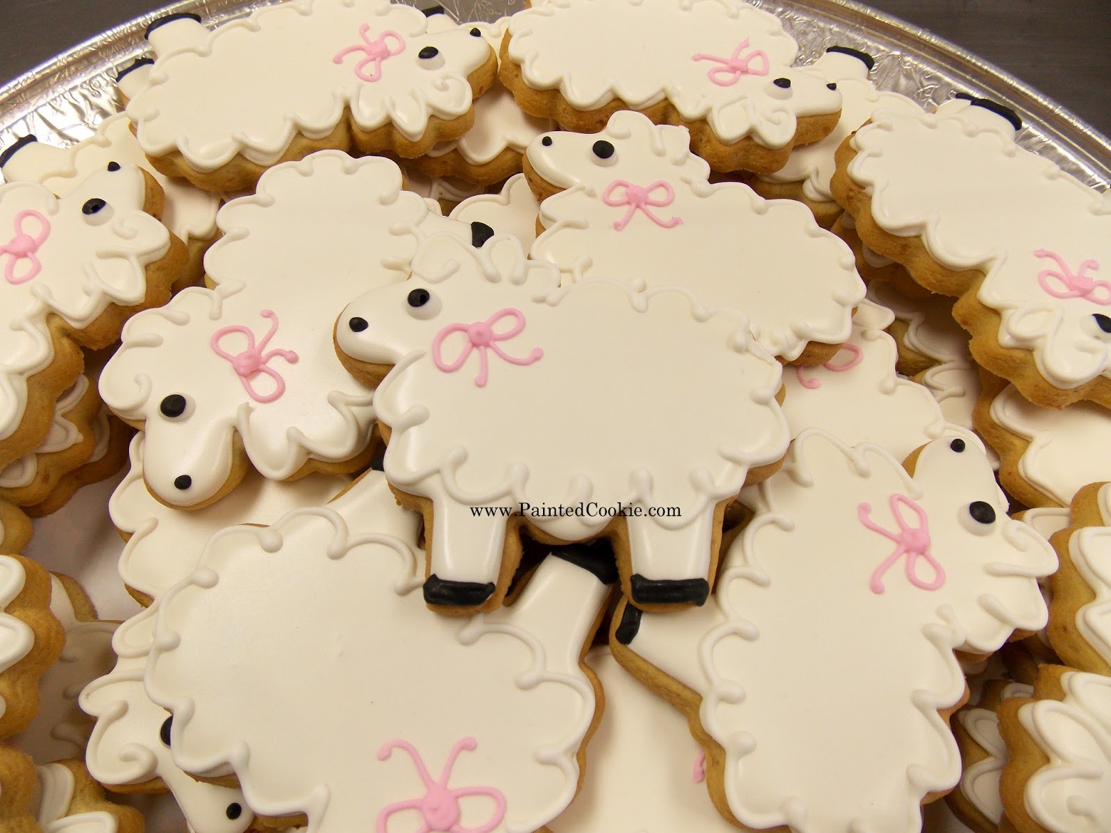 the painted cookie lambs sheep baby shower