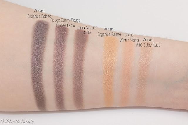 Giorgio Armani Organica Universal Eyeshadow Palette Yeux 01 Milan Color Eye swatch comparison, Fade To Grey, Fall 2014