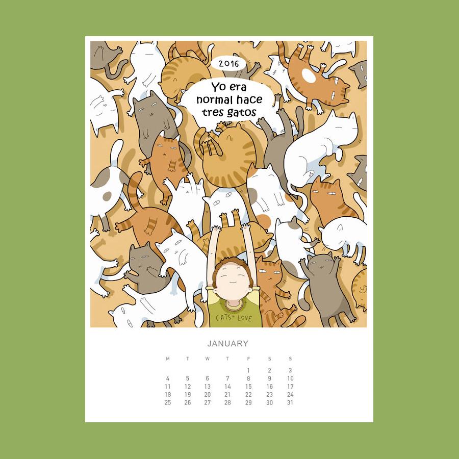 Calendario amantes de los gatos 2016