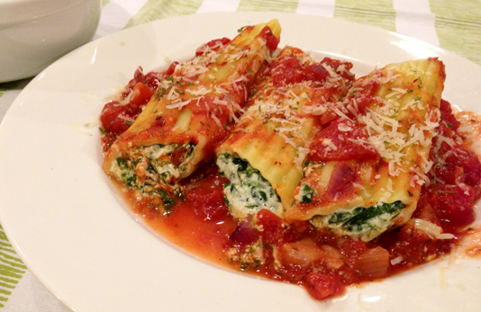 Chicken And Spinach Manicotti Spinach-cheese-chicken stuffed