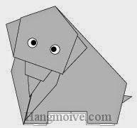 Bước 14: Vẽ mắt để hoàn thành cách xếp con voi bằng giấy theo phong cách origami nghệ thuật.