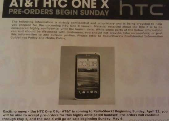 RadioShack preorders HTC One X for $149 only