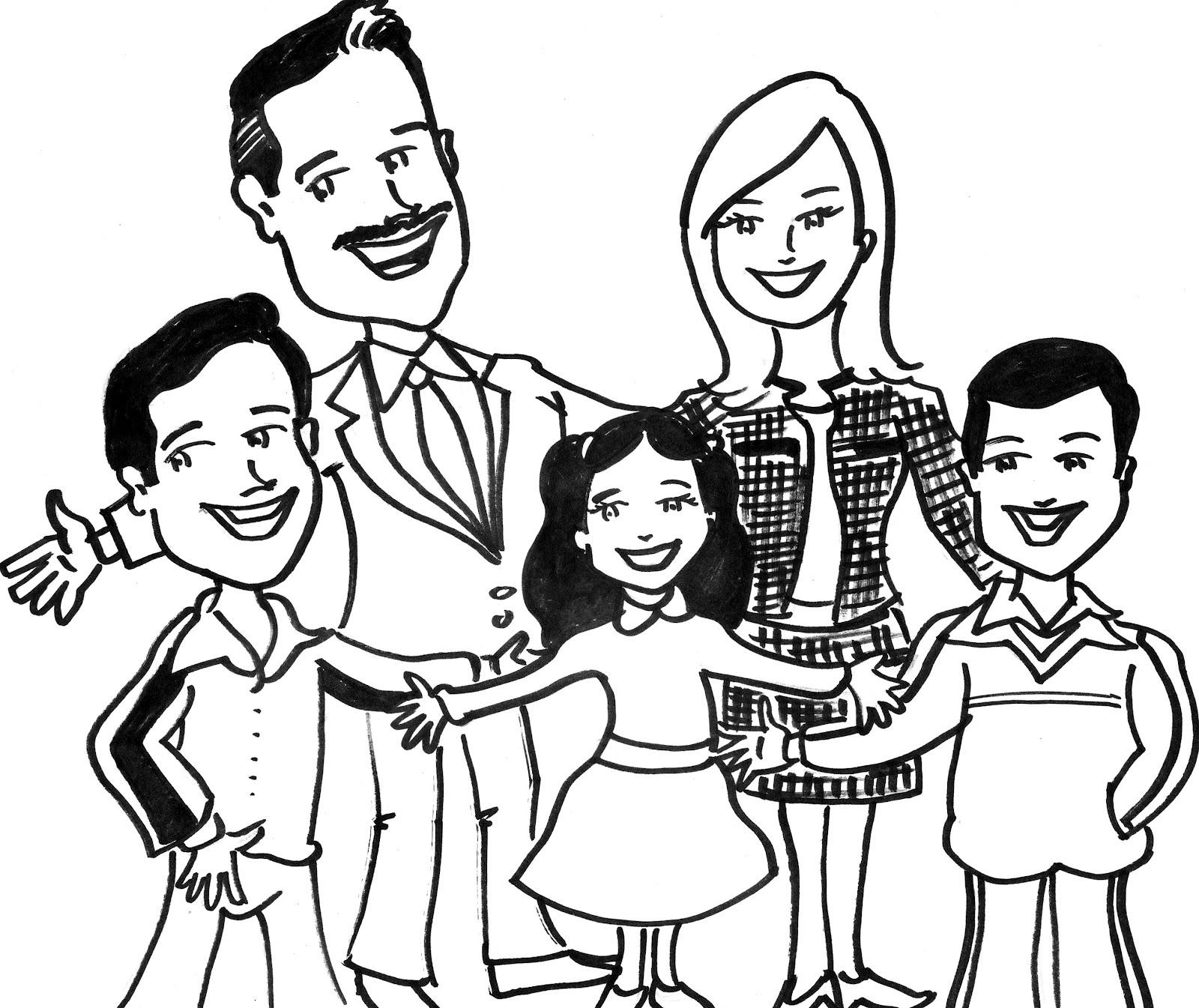dibujo de familia  tony garabato caricaturista