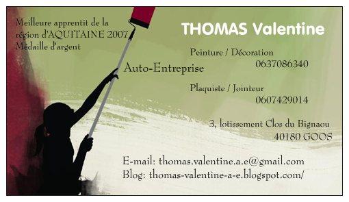 THOMAS Valentine Auto Entreprise Carte De Visite